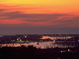Newport Beach and Marina at Night, California Photographic Print by John Connell