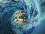 Earth Caught Up in Wave of International Currency Photographic Print by Carol & Mike Werner