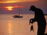 Silhouette of Man Fishing, Lake Erie, Lorain, OH Photographic Print by Jeff Greenberg