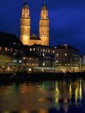 Evening, River Limmat, Zurich, Switzerland Photographic Print by Walter Bibikow