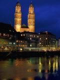 Evening, River Limmat, Zurich, Switzerland Photographic Print by Walter Bibikow