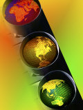 Globes in Traffic Light Photographic Print by Carol & Mike Werner