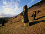 Statues at Easter Island, Chile Photographic Print by Walter Bibikow