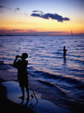 Boys Fishing, Lake Erie, OH Photographic Print by Jeff Greenberg