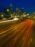 Downtown at Dusk with Traffic, Atlanta, GA Photographic Print by Jeff Greenberg
