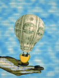 Hand with Financial Hot Air Balloon and Binary Code Photographic Print by Carol & Mike Werner