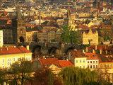Town and Charles Bridge, Prague, Czech Republic Photographic Print by Peter Adams