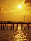 Sonnenuntergang an einem Strand in Virginia, Virginia Fotodruck von Chris Rogers