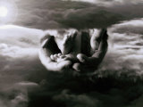 In the Clouds, Father's Hands Hold a Child's Feet Photographic Print by Chris Briscoe