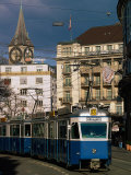 Streetcar, Zurich, Switzerland Photographic Print by Walter Bibikow