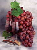 John James Wood - Wine Glasses and Grapes Fotografická reprodukce