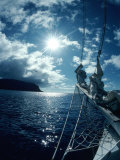 Sailboat Approaching Cocos Island, Costa Rica, Photographic Print