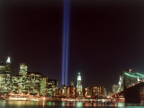 World Trade Center Memorial Lights, New York City Fotografisk tryk af Rudi Von Briel
