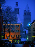 Night Time in Kitzbuhel, Austria Photographic Print by Walter Bibikow