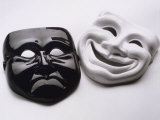 Black and White Image of Ceramic Theater Masks Photographic Print by Howard Sokol