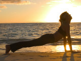 Woman Stretching on Beach Photographic Print by Tomas del Amo