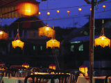 Seafood Restaurant with Lit Lanterns, Vietnam Photographic Print by Walter Bibikow