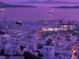 Mykonos Town at Night, Mykonos, Greece Photographic Print by Walter Bibikow