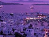 Mykonos Town at Night, Mykonos, Greece Lámina fotográfica por Walter Bibikow