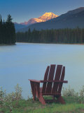 Chair by a River and Mountain Photographic Print by Kevin Law