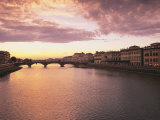 Sunset, Arno River, Tuscany, Italy Photographic Print by Walter Bibikow