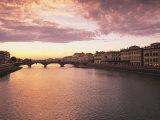 Sunset, Arno River, Tuscany, Italy Photographic Print by Walter Bibikow