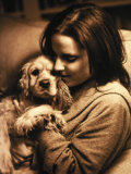 Portrait of Teen Girl with Dog Photographic Print by Lonnie Duka