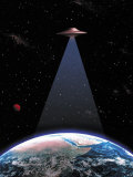 UFO Above the Earth Photographic Print by Ron Russell