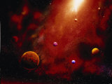 Illustration of Planets and Red Glowing Star Lmina fotogrfica por Ron Russell