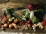 Assortment of Fruits, Vegetables & Nuts Reproduction photographique