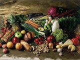 Assortment of Fruits, Vegetables & Nuts Fotografisk tryk