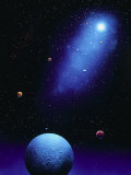 Illustration of Blue Planets and Stars