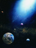 Illustration of Earth and Radiant Star Lmina fotogrfica por Ron Russell