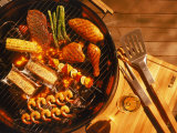 Vegetables, Fish, Poultry, and Red Meat on a Grill Photographic Print by Ernie Friedlander