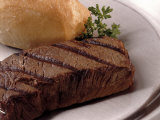 Steak and Roll on Plate Photographic Print by Jon Riley