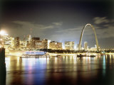 Stlouis Skyline and the Arch at Night Photographic Print