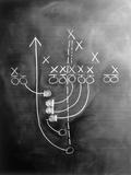 Football Play on Chalkboard Fotografie-Druck von Howard Sokol