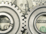 Gear Wheels and US Currency Photographic Print by Terry Why