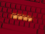 Computer Keyboard with Word Help Highlighted Photographic Print by Doug Mazell