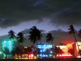 View of South Beach at Night, Miami, FL Fotografisk tryk af Terry Why