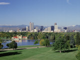 Skyline and Rocky Mts, Denver, Colorado Photographic Print by Jeff Greenberg