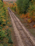 Railroad Tracks Between Autumn Foliage, MI Photographic Print by Don Grall