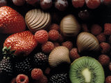 Strawberries, Raspberries and Kiwis Photographic Print by Howard Sokol