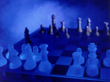 Blue Chess Set Photographic Print by Larry Joubert