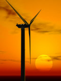 Wind Turbine at Sunset, Computer Generation Photographic Print by Roger Sutcliffe