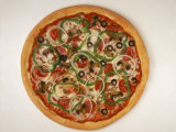 Pizza with Onions, Olives, Peppers and Pepperoni Photographic Print by Leslie Harris