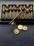 Abacus, Key and Coins Photographic Print by Howard Sokol