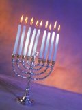 Silver Menorah with White Lighted Candles Photographic Print by Ellen Kamp