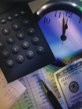 Calculator Over Clock, Spread Sheet and Money Photographic Print by Ellen Kamp
