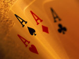 Four Aces in a Hand of Playing Cards Photographic Print by Greg Smith